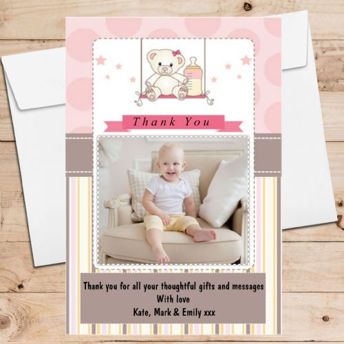 10 Personalised Christening New Baby Birth Teddy Bear Thank you PHOTO Cards N199